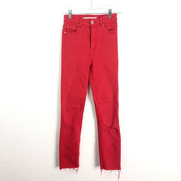 Zara Trf Red Skinny Jeans High Rise Ripped Raw Hem 2